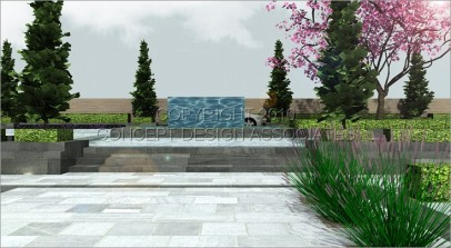 Water wall and feature tree